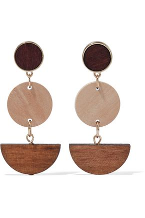 IRIS & INK Tamar 18-karat gold-plated sterling silver wood earrings