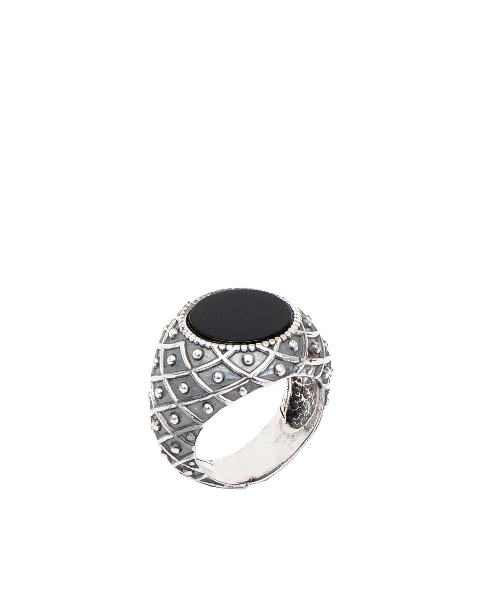 《セール開催中》EMANUELE BICOCCHI メンズ 指輪 ブラック 22 シルバー925/1000 / オニキス