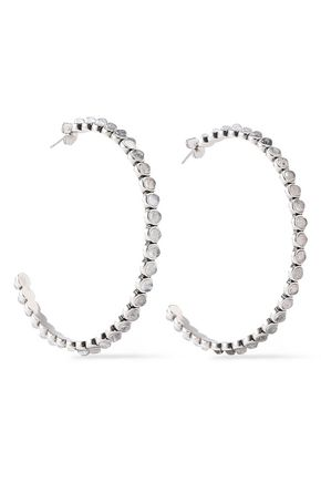 LUV AJ Silver-tone quartz hoop earrings