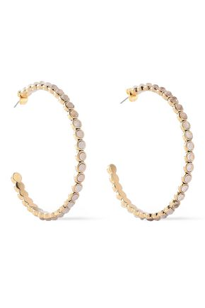 LUV AJ Gold-tone quartz hoop earrings
