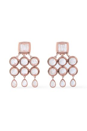 LUV AJ Rose gold-tone quartz earrings