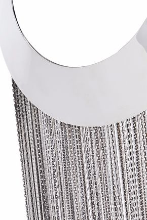 BALMAIN Silver-tone fringed necklace