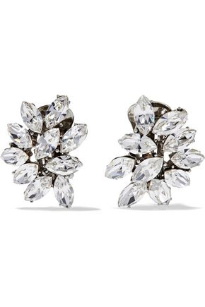BEN-AMUN Silver-plated Swarovski crystal clip earrings