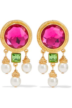BEN-AMUN 24-karat gold-plated, crystal and faux pearl clip earrings