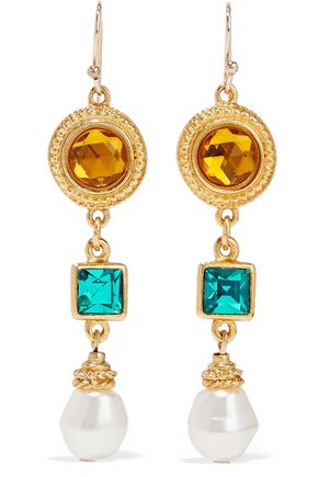 BEN-AMUN 24-karat gold-plated, crystal and faux pearl earrings