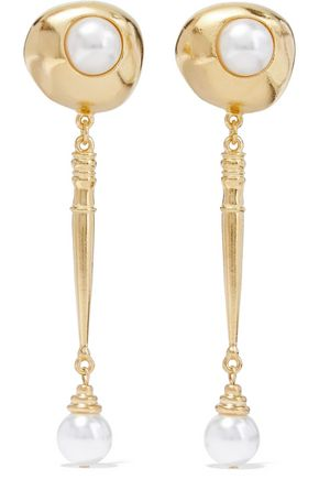 BEN-AMUN Gold-plated faux pearl clip earrings