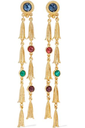 BEN-AMUN 24-karat gold-plated stone earrings
