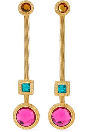 BEN-AMUN 24-karat gold-plated crystal earrings