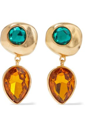 BEN-AMUN Gold-plated crystal clip earrings