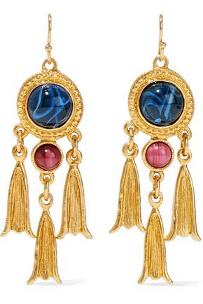 BEN-AMUN 24-karat gold-plated Swarovski crystal earrings