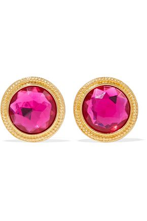 BEN-AMUN 24-karat gold-plated crystal clip earrings
