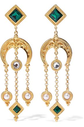 BEN-AMUN 24-karat gold-plated, Swarovski crystal and faux pearl clip earrings