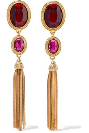 BEN-AMUN 24-karat gold-plated crystal tassel earrings
