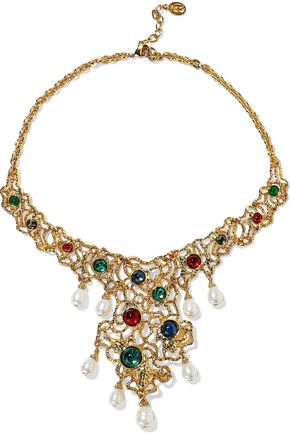 BEN-AMUN 24-karat gold-plated, Swarovski crystal and faux pearl necklace