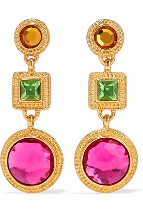 BEN-AMUN Gold-plated crystal earrings