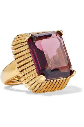 ELIZABETH COLE Wren 24-karat gold-plated crystal ring