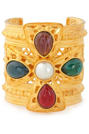 BEN-AMUN Gold-plated, faux pearl and stone cuff
