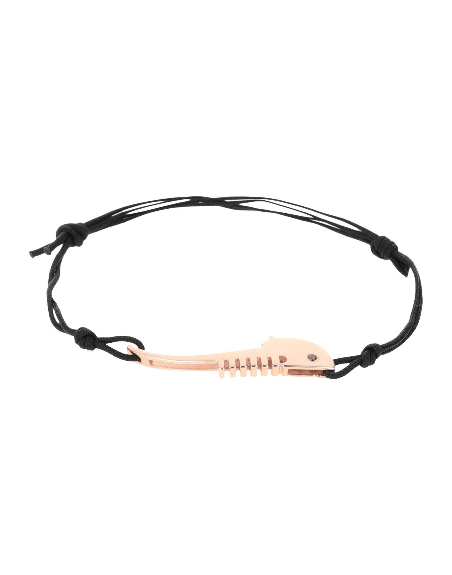 《送料無料》FRANCESCO PAVAN レディース ブレスレット ブラック 紡績繊維 / シルバー925/1000