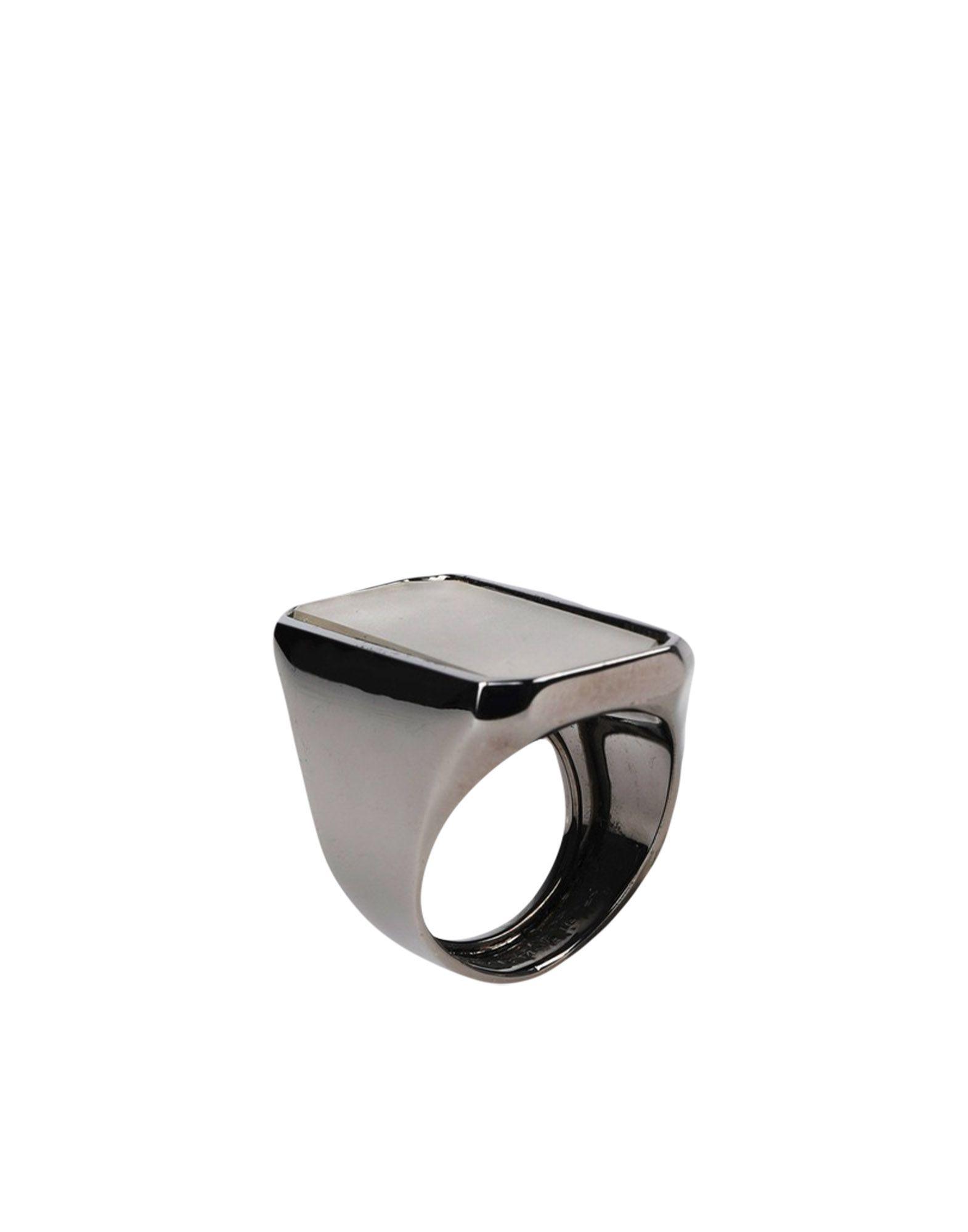 《セール開催中》MAISON MARGIELA レディース 指輪 スチールグレー M 真鍮/ブラス / ガラス