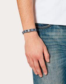 Rockstud leather bracelet with ruthenium studs