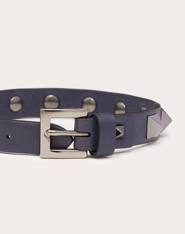 Rockstud leather bracelet with ruthenium studs
