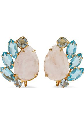 BOUNKIT Gold-tone, moonstone and quartz earrings