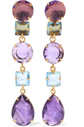 BOUNKIT Convertible gold tone, amethyst and quartz earrings