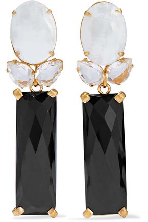 BOUNKIT Convertible gold-tone, mother-of-pearl, onyx and quartz earrings