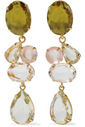 BOUNKIT Convertible gold-tone crystal earrings