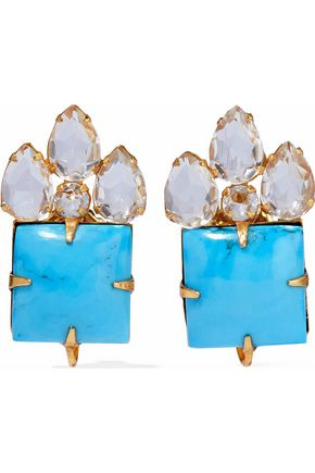 BOUNKIT Gold-tone, turquoise and quartz earrings