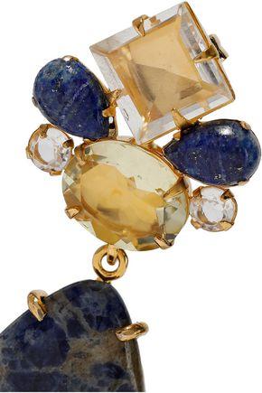 BOUNKIT Convertible gold-tone, sodalite and quartz earrings