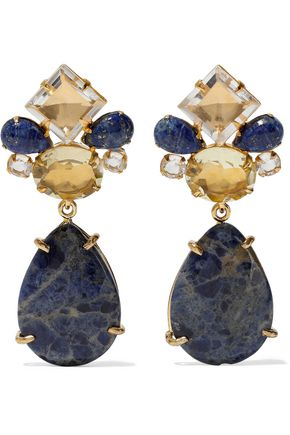 BOUNKIT Convertible gold-tone, sodalite and quartz earrings