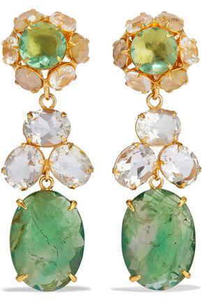 BOUNKIT Convertible gold-tone, fluorite and quartz earrings