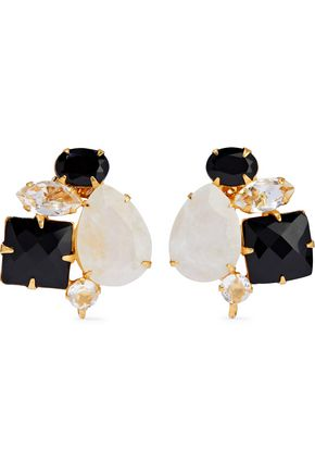 BOUNKIT Gold-tone, onyx, moonstone and crystal earrings