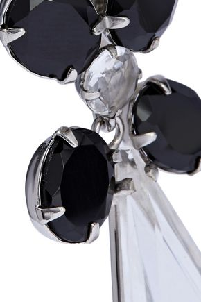 BOUNKIT Convertible silver-tone onyx and quartz earrings
