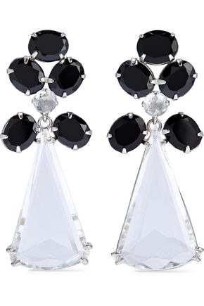 BOUNKIT Convertible silver-tone onyx and quartz earrings