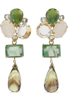 BOUNKIT Convertible gold-tone fluorite and quartz earrings