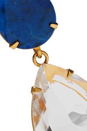 BOUNKIT Convertible gold-tone lapis lazuli and quartz earrings
