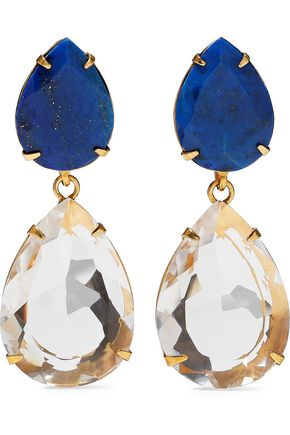 BOUNKIT Convertible gold-tone lapis lazuli and quartz earrings