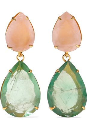 BOUNKIT Convertible gold-tone, quartz and fluorite earrings