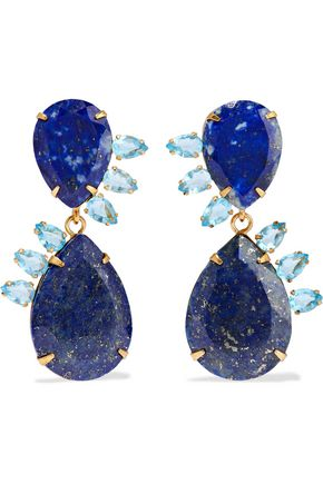 BOUNKIT Gold-tone lapis lazuli and quartz earrings