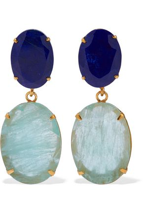 BOUNKIT Convertible gold-tone, lapis lazuli and fluorite earrings