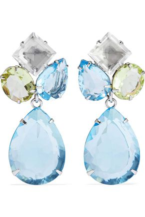 BOUNKIT Convertible silver-tone quartz earrings