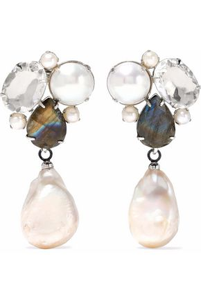 BOUNKIT Convertible silver-tone, labradorite, mother-of-pearl and crystal earrings