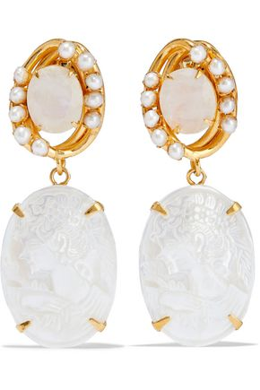 BOUNKIT Convertible gold-tone, moonstone and freshwater pearl earrings