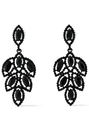 KENNETH JAY LANE Coated silver-tone crystal earrings