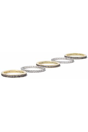 CZ by KENNETH JAY LANE Set of six gold and silver-tone crystal rings