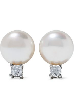 CZ by KENNETH JAY LANE Sterling silver, faux pearl and crystal earrings