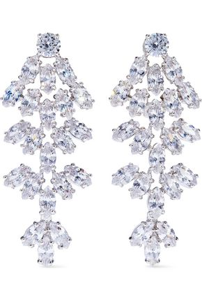 CZ by KENNETH JAY LANE Silver-tone crystal clip earrings