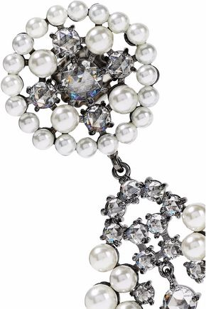 CZ by KENNETH JAY LANE Gunmetal-tone, faux pearl and crystal earrings